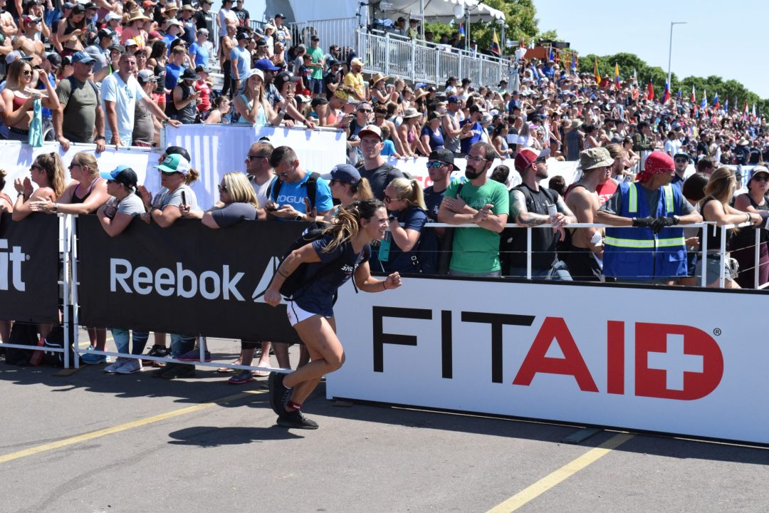 Jamie Greene of CrossFit Yas completes the Ruck Run event at the 2019 CrossFit Games