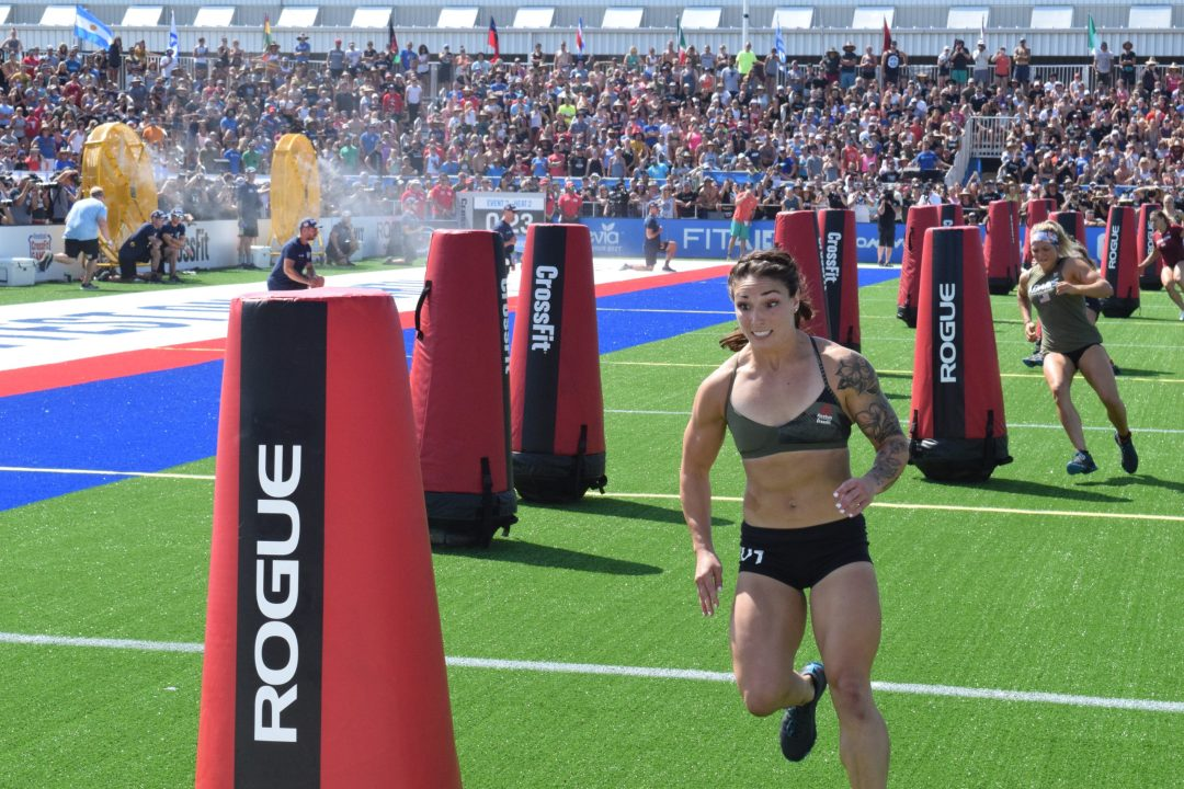 Bethany Shadburne completes the Sprint event at the 2019 CrossFit Games.