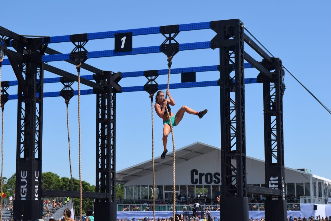 Emily Rolfe completes a legless rope climb at the 2019 CrossFit Games