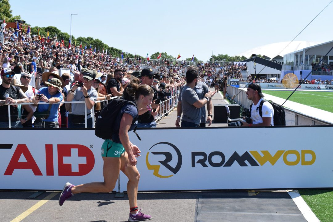 Emily Rolfe completes the Ruck Run event at the 2019 CrossFit Games