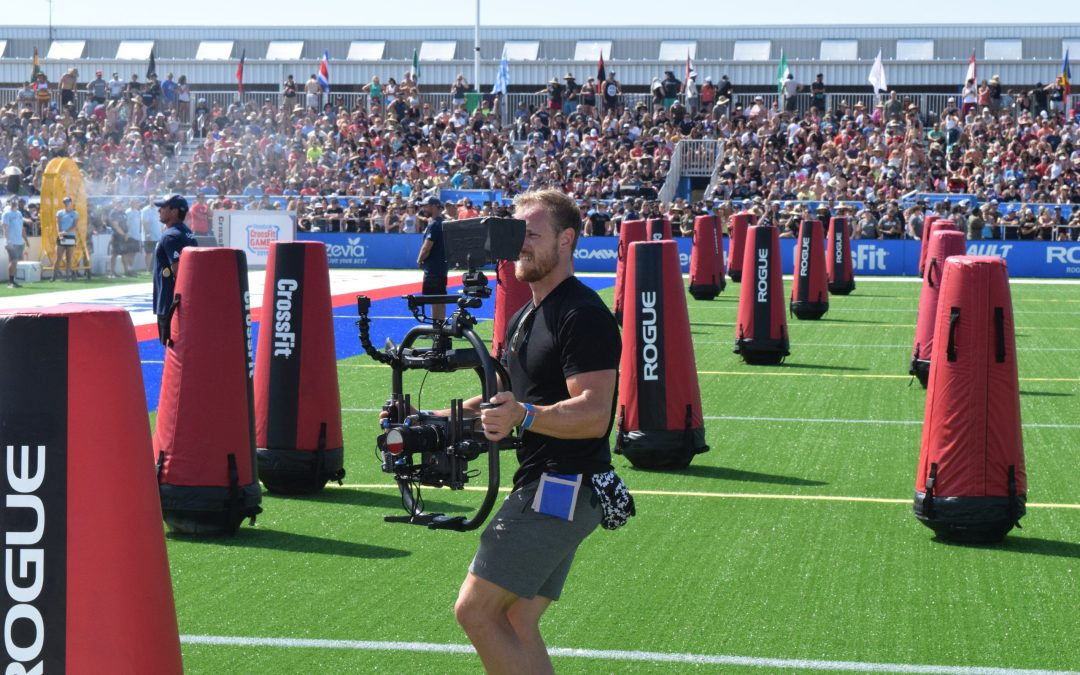 Marston Saywers of the Buttery Bros films the Sprint event at the 2019 CrossFit Games
