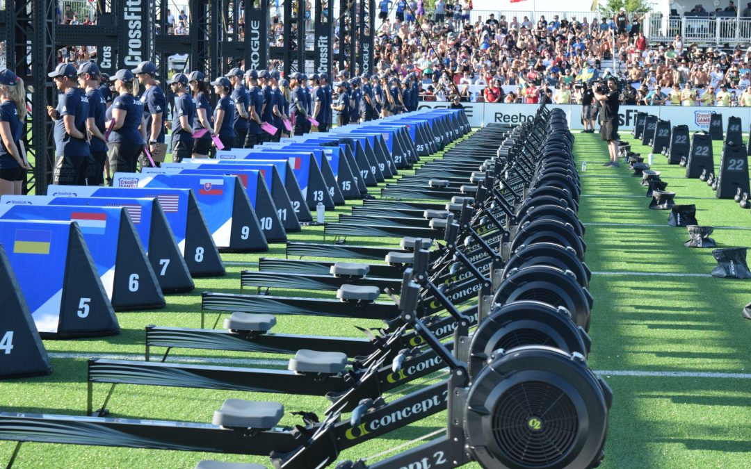 Rowers are lined up at the 2019 CrossFit Games
