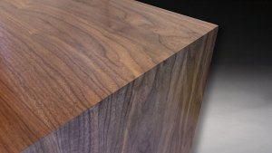 Miter with continuous waterfall wood grain