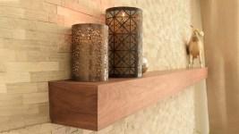 Floating Shelf, walnut fireplace mantel, contemporary