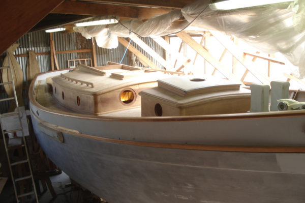 Ben Harris Boatbuilding Cornwall - Alva in Workshop