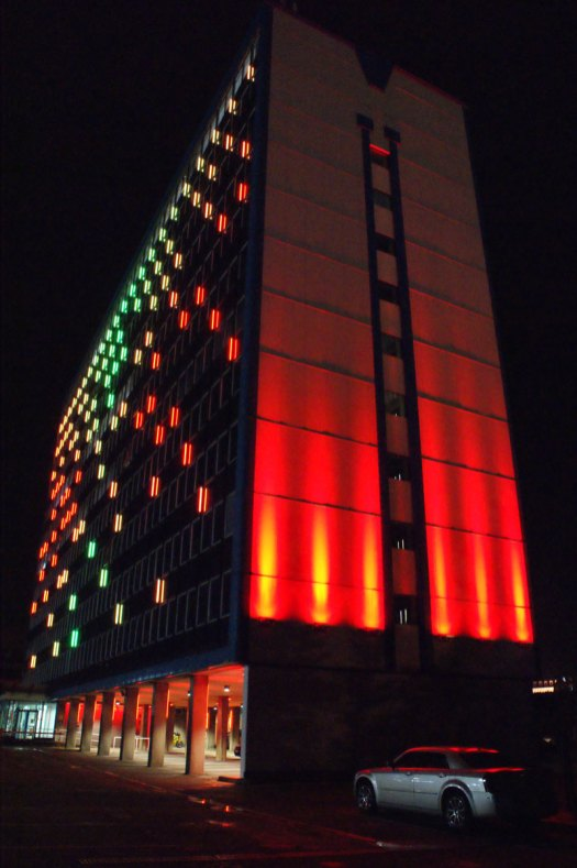 The wall wash projectors at the side of the building. These luminaires changed colour with the facade luminaires.