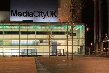 Media City UK lighting, the studio block.