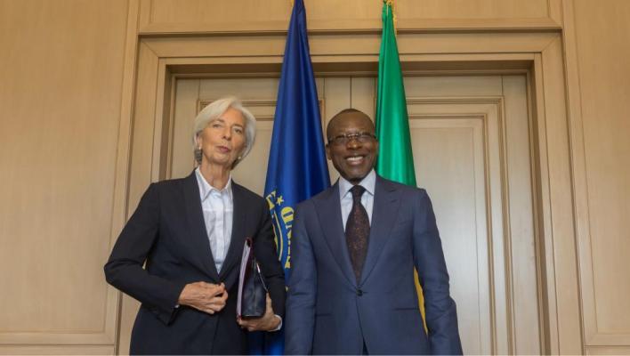 Christine Lagarde, directrice générale du FMI, aux côtés du président béninois Patrice Talon, le 11 décembre 2017 à Cotonou. / © YANICK FOLLY / AFP
