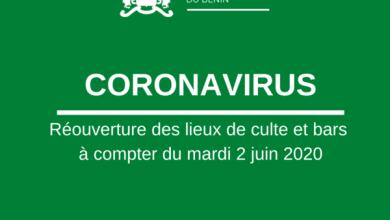 Photo of CORONAVIRUS – Réouverture des bars et lieux de culte dès le mardi 2 juin 2020