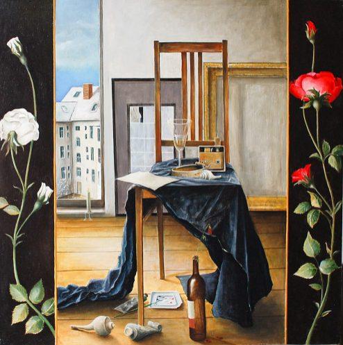 »Künsteratelier«, Benjamin Kerwien, Öl auf Holz, 60 × 60 cm, 2013