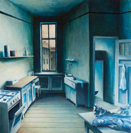 »Forelle Blau«, Benjamin Kerwien, Öl auf MDF, 60 × 60 cm, 2014