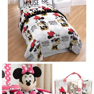 Disney Minnie Mouse Kids Twin 4-Piece Bedding Set with Character Plush Pillow