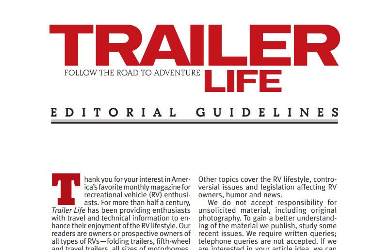 Trailer Life Article Writing