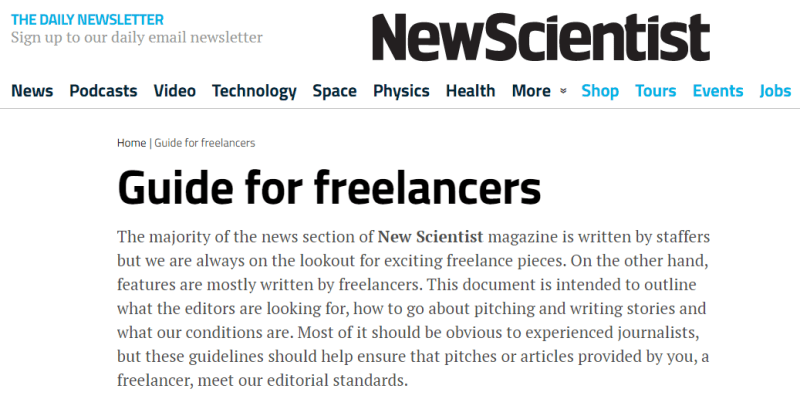 Write For New Scientist