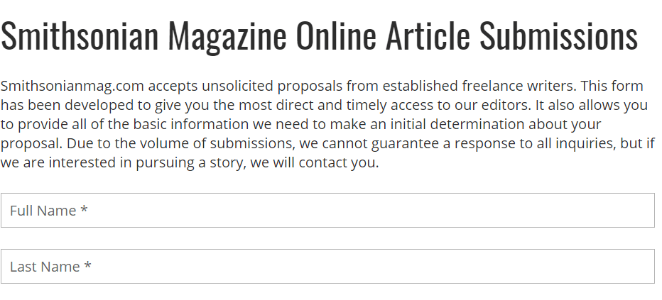 Smithsonian Writing Articles for Pay