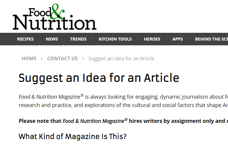 Write About Food for Food & Nutrition