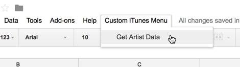Menu iTunes API khusus