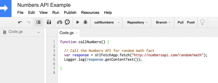 Kode API Angka Google Apps Script