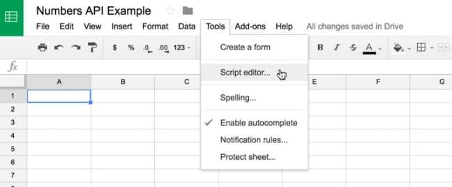 Akses editor skrip melalui bilah alat