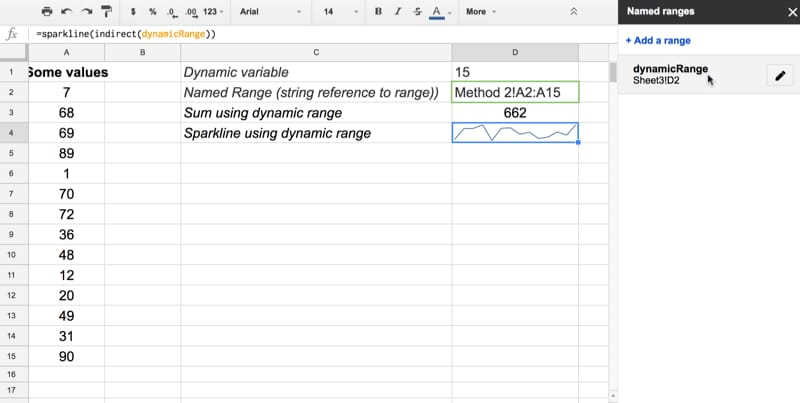 How to create dynamic named ranges in Google Sheets