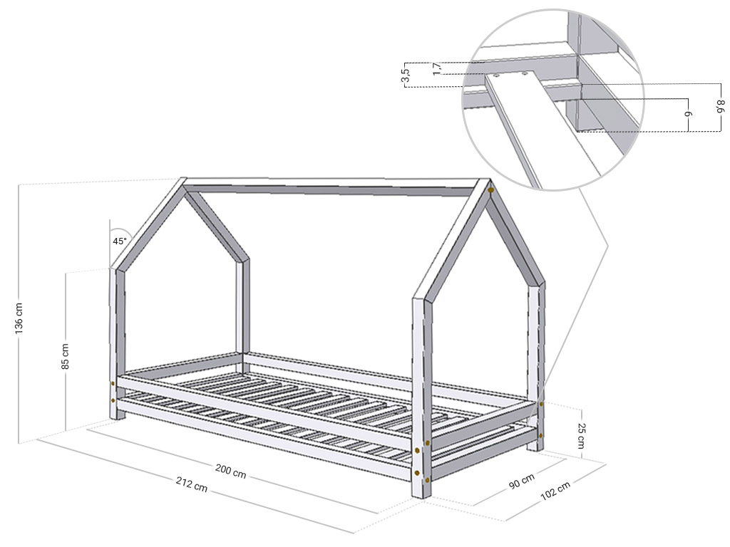 Solid house bed for children