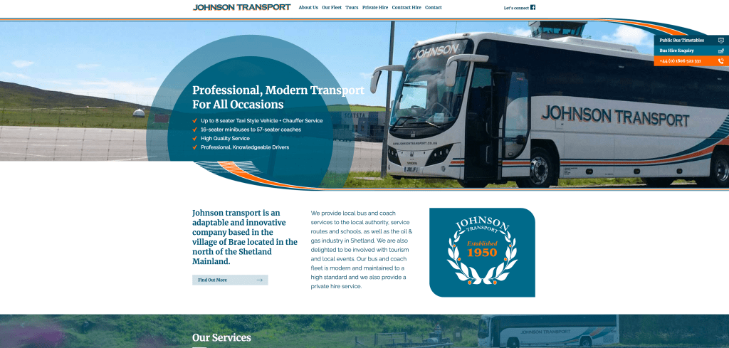 Johnson Transport Website Homepage