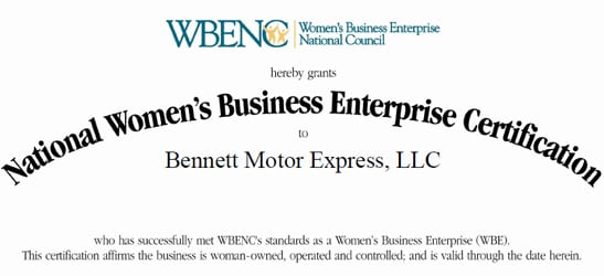 WBENC Certification   Bennett International Group, LLC
