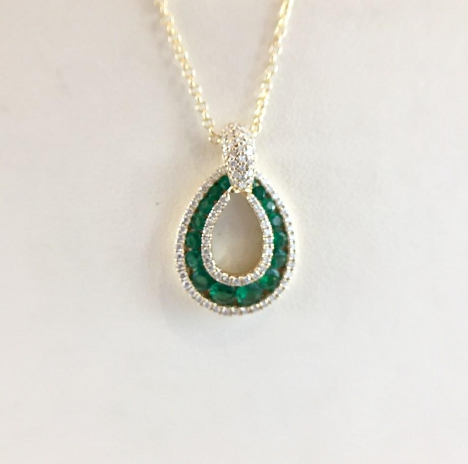 Emerald and diamond - Tear drop pendant