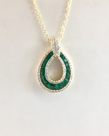 Emerald and diamond - Tear drop pendant