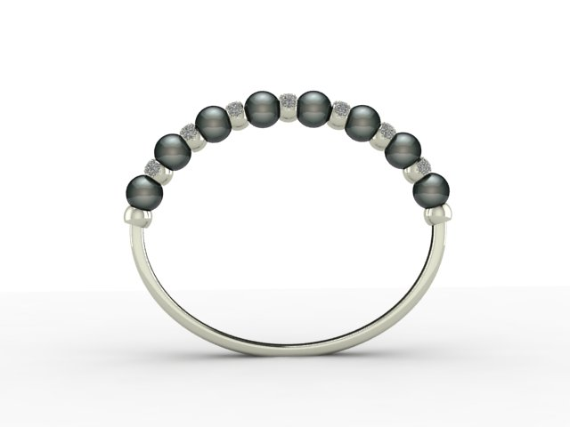 bangel - white gold - pearl and diamond