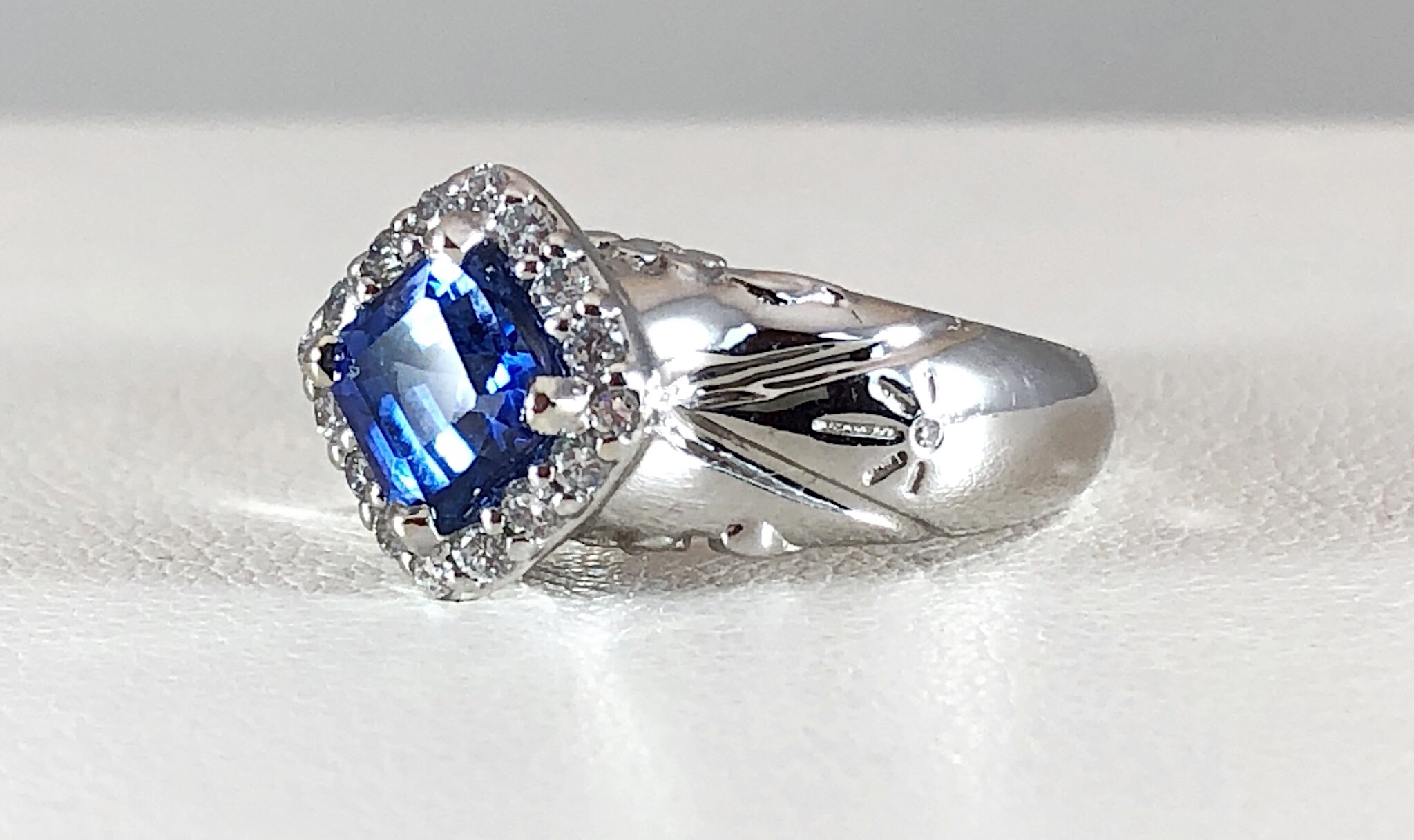 Side view of Sapphire ring