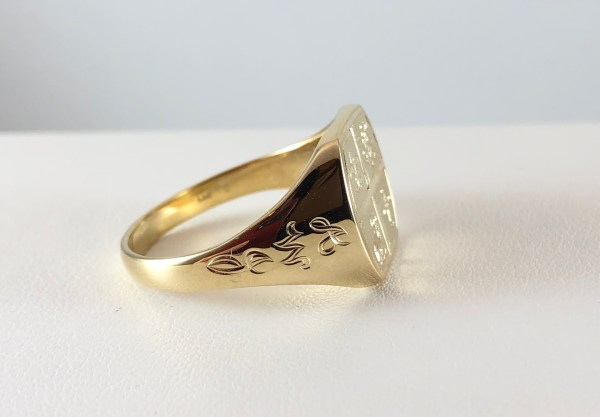14k Yellow Gold Custom Engraved Mens Signet Ring Bennion Jewelers