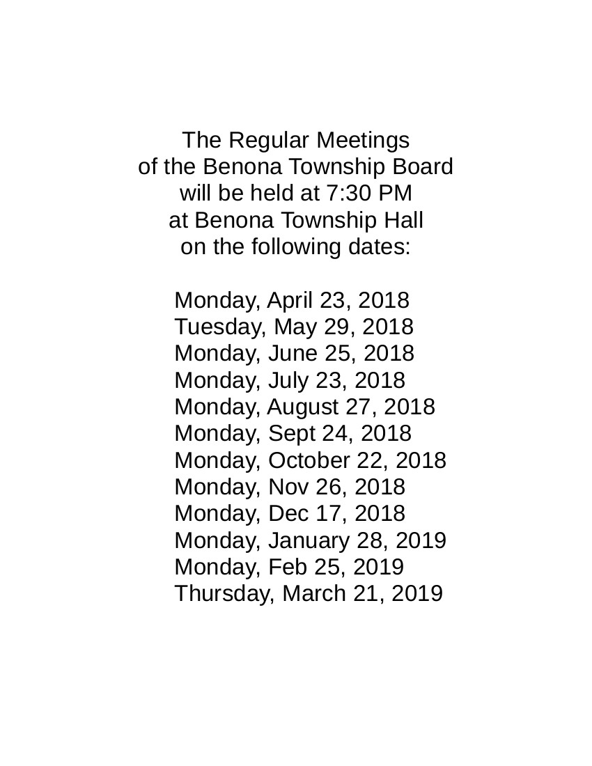 Regular Meeting Schedule.