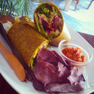 Raw Veggie Wrap with Dehydrated Purple Potato Crisps and Spicey Sambal