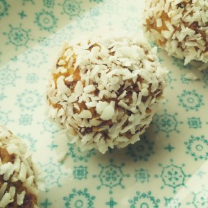 Raw Carrot Cake Bliss Balls Rolled in Desiccated Coconut