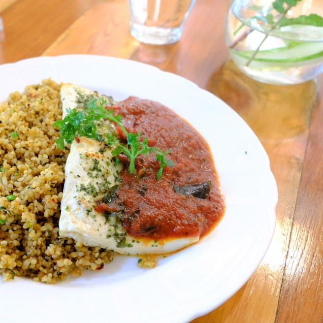 tofu marinated chimichanga served with bulgar wheat
