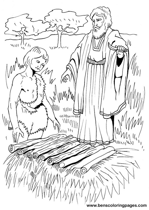 Abraham sacrifices Isaac bible coloring page.