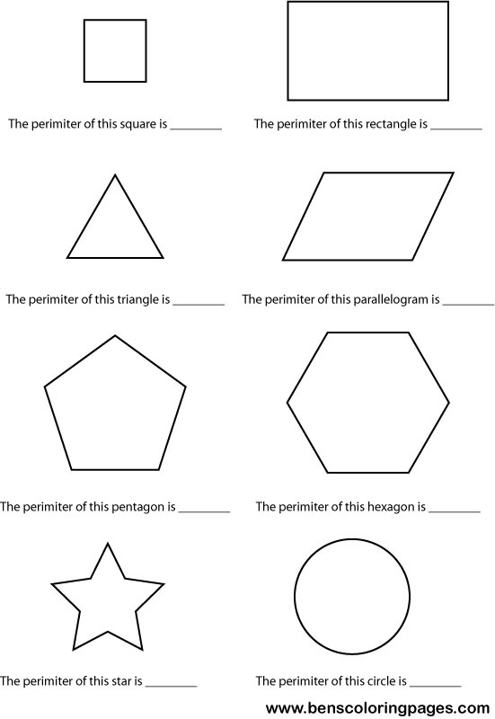 Free coloring pages of area and perimeter
