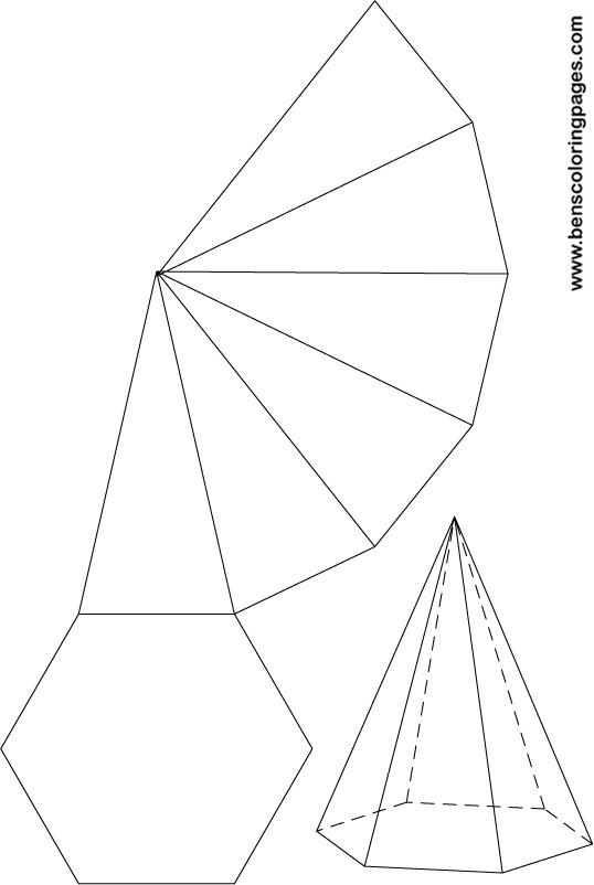 Free net of a hexagonal pyramid.