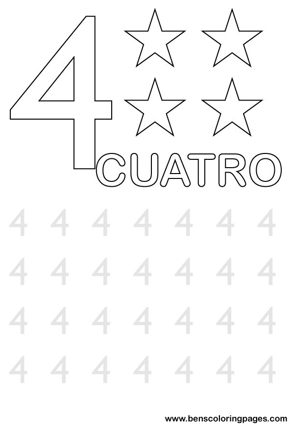 Learn to write number four in spanish.