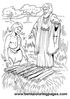 Abraham sacrifices Isaac bible coloring page.
