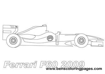 Ferrari F60 f1 coloring page