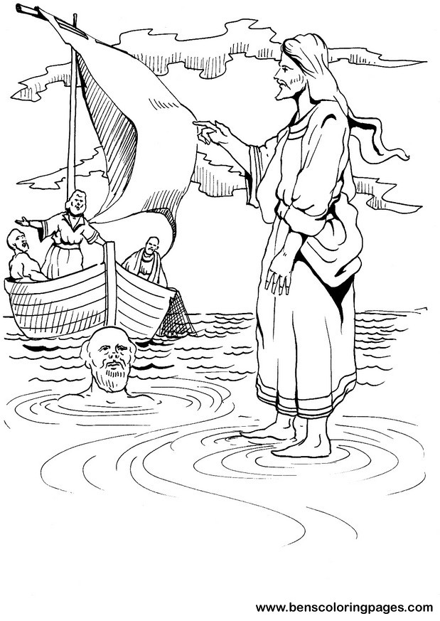 Jesus Walks On Water Coloring Page Coloring Pages