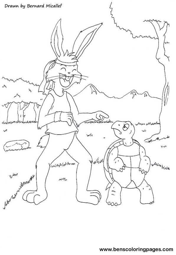 Tortoise And Hare Coloring Sketch Coloring Page