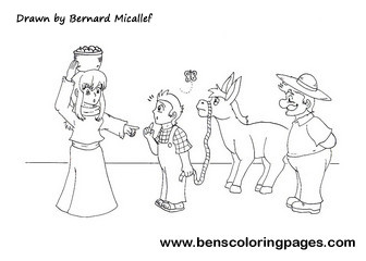 The man, the boy and the donkey coloring sheet