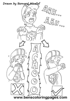 Sneezing correct procedure coloring page