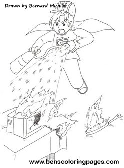 Fire safety coloring page