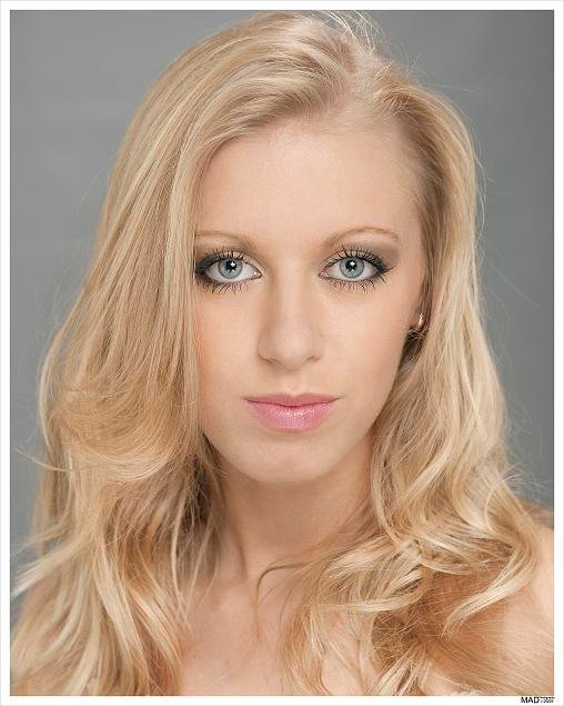 Blonde female model head shot