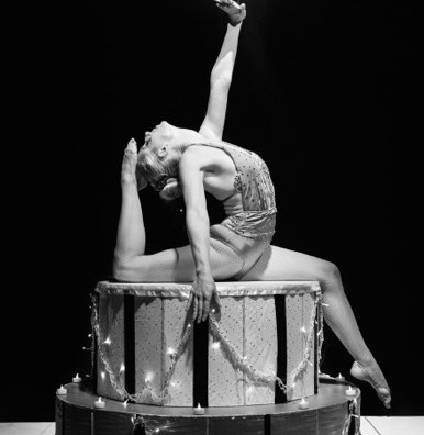 Bensons Agency Contortionist and fire performer in black and white