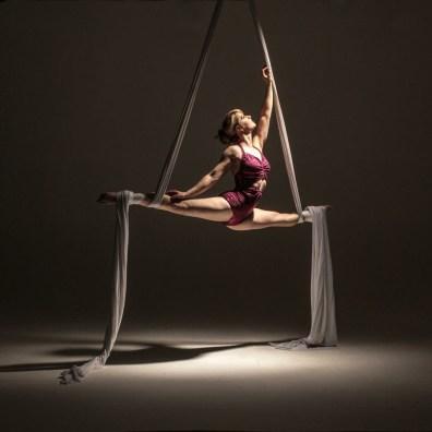Aerialist silk artists and acrobat